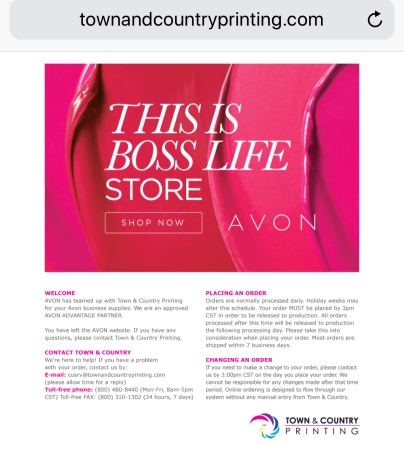 Get 200 free Avon business cards.